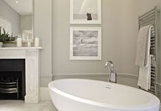 Helen Green - Grand Apartment, Belgravia. Think I love all of it! Wall colour, bath, fireplace, mirror & towel rail. All gorgeous.