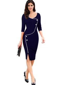 UVKKC Women Office Dress Brief Split Bottom Elegant Luxury Vestidos Sleeve O Neck Bodycon Knee Women Bodycon Pencil Dress Office Dresses, Dresses For Work, Jw Mode, Body Con Dress, Elegantes Outfit, Work Attire, Work Casual, Casual Office, Chic Outfits