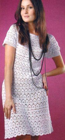 Vestido de malha - Número de crochê vestido de 2, 2,5 e 3. Fios de algodão 100%. Tamanho 44-46. esquema de tricô vestido de crochê