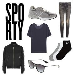 """""""Sporty"""" by fridasaaa on Polyvore featuring Topshop, New Balance, R13, Acne Studios, NIKE and Ray-Ban"""