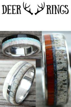 Mens wood deer antler rings! I love these wood deer antler wedding rings. My future husband really wants and I think I might surprise him with one.