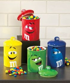 Brilliantly colored M&M's Super-Sized Treat Jars make a fun addition to your kitchen counter. The ceramic canisters feature the faces of the candy cha M M Candy, Candy Jars, M&m Characters, M & M Chocolate, Favorite Candy, Candy Gifts, Kitchen Items, Kitchen Cupboard, Candyland