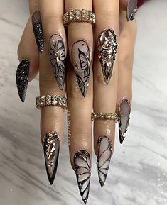 68 Beautiful Stiletto Nails Art Designs And Acrylic Nails Ideas 2020 - Lily Fashion Style Nail Swag, Summer Acrylic Nails, Best Acrylic Nails, Summer Nails, Pastel Nails, Stylish Nails, Trendy Nails, Black Nail Designs, Nail Art Designs