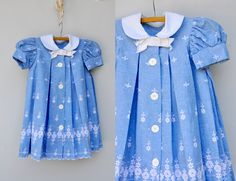 50s 60s Dress Floral Embroidered Girl Dress Frock - Pleated Dress - Tea Garden Birthday Party Wedding size approx. 2 3 4 5 6 years old…