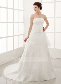 A-Line/Princess Sweetheart Chapel Train Organza Satin Wedding Dress With Beading Appliques Lace Flower(s) Cascading Ruffles (002001282)