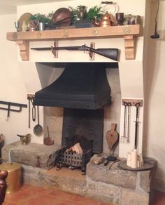"Renovated and reclaimed fully functional open hearth fireplace with ""Forge"" style smoke hood - County Leitrim Ireland"