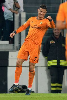 Cristiano Ronaldo celebrates scoring a goal during the UEFA Champions League Group B match between Juventus and Real Madrid at Juventus Arena on November 5, 2013 in Turin, Italy.