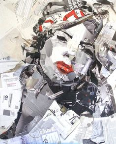The artist used pieces of magazines to create this. Just amazing.