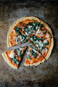 Chickpea Pizza with Harissa & Spinach #recipe