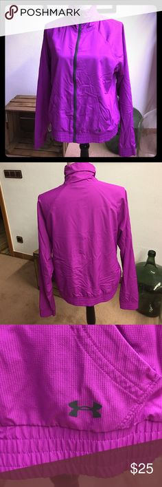 UA lightweight running jacket Semi fitted purple lightweight running jacket, size L.  No rips, stains or holes Under Armour Jackets & Coats