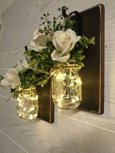 Jars, lights and paper flowers for shepherds hooks- Rustic Wall Decor Mason Jar Sconce Wall Sconce Mason Jar Mason Jar Sconce, Mason Jar Lighting, Mason Jars, Jar Lamp, Rustic Walls, Rustic Wall Decor, Farmhouse Decor, Decorated Jars, Jar Lights
