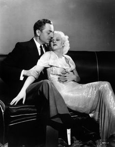 Jean Harlow & William Powell (the love of her life). Powell reportedly told her that he was reluctant to marry another Hollywood bombshell after his divorce from Carole Lombard. They were engaged at the time of her death @ Old Hollywood Movies, Golden Age Of Hollywood, Vintage Hollywood, Hollywood Stars, Classic Hollywood, Hollywood Couples, Hollywood Glamour, Hollywood Pictures, Hollywood Men