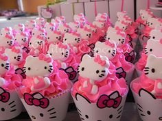 Hello Kitty Birthday cupcakes. If you dont have the toppers just use the printable wraps. ice with pink and sprinkles