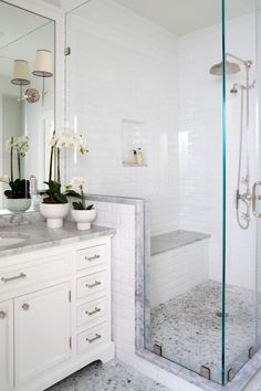 HGTV features a white traditional master bathroom with a glass-enclosed shower…