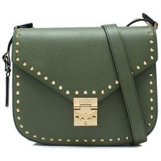 MCM Medium Patricia Shoulder Bag In Studded Outline ($1,100) ❤ liked on Polyvore featuring bags, handbags, shoulder bags, green, shoulder bag handbag, mcm handbags, shoulder handbags, studded handbags and cowhide purse