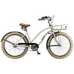 """Girl Bike 26 """"- Desiree cruiser - Cream Trendy cruiser with balloon tires and frontlad with wooden base - Coop.dk"""