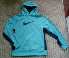 Nike Therma Fit Storm turquoise blue hooded hoodie sweatshirt XL 18-20 EUC #Nike