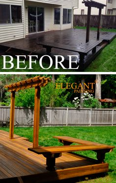 Applied by Elegant Painting® Deck Refinishing, Deck Finishes, Deck Colors, Cedar Deck, Outdoor Spaces, Outdoor Decor, Pot Rack, All Purpose Cleaners, Wall Stickers Murals