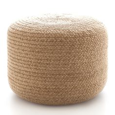 Dash And Albert Braided Natural Indoor/Outdoor Pouf is available at American Country Home Store. Outdoor Pouf, Indoor Outdoor Rugs, Outdoor Rooms, Outdoor Lounge, Outdoor Fabric, Outdoor Chairs, Outdoor Living, Jute, Veranda Design
