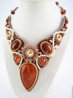 Купить Гарнитур из бисера и камней - коралловый, яшма, красный, handmade jewelry, колье из бисера