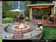 wood deck, fire place