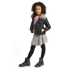 Hot girls fashion for fall: Moto boots and jacket with a feminine pleated mini skirt and tights
