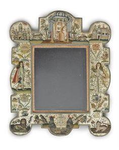 Charles II neddlework table mirror, circa 1670-80