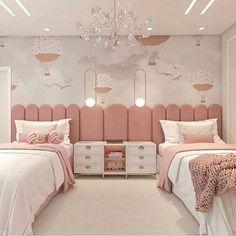 Kids Bedroom Designs, Room Design Bedroom, Room Ideas Bedroom, Kids Room Design, Girly Bedroom Decor, Home Design, Twin Girl Bedrooms, Girls Bedroom, Twin Room