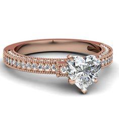1.10 Ct Heart Shaped Diamond Milgrain Intricate Pave Engagement Ring  14K Rose Gold