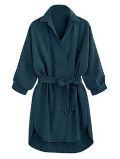 Choies Sexy Women Green Tied Waist 3/4 Sleeve Dipped Back Slim Mini Summer Dress…