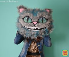 Peluche gato Cheshire, sólo la cabeza.