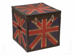 Union Jack Storage Trunk.  Mango wood box covered  in jute fabric.  Riveted leather edging and metal hasps.  W50cm x H50cm x D50cm.  £329