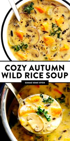 This Cozy Autumn Wild Rice Soup is the perfect fall comfort food! It's easy to make in the Instant Pot (pressure cooker), Crock-Pot (slow cooker), or on the stovetop. It's loaded with sweet potato, kale, mushrooms and other autumn veggies. It's easy to make gluten-free or vegan, if you would like. And it's SO delicious. | Gimme Some Oven #soup #dinner #vegetarian #glutenfree #vegan #comfortfood