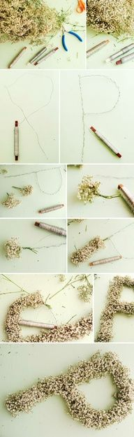 DIY Flower lettering Wedding Decorations. I think thats babys breath and we could do a W! Or both G and D Cute decoration for gift or registration table... Baby's breath is so cheap