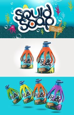 Squid Soap designed by Design Happy, a strategic packaging & branding design agency based in Kingston Upon Thames, UK. http://www.designhappy.co.uk