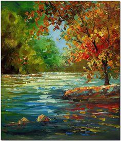 Morning Landscape of Serenity - Hand Painted Palette Knife Oil Painting On Canvas ARTIST CERTIFICATE INCLUDED