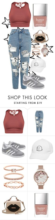 """""""Jordan Belford"""" by maddyb202 ❤ liked on Polyvore featuring Topshop, adidas Originals, Accessorize, Olivia Burton and Butter London"""