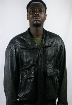 Mens+Vintage+Leather+Jacket+Coat+EAST+LONDON+Large+Cafe+60's