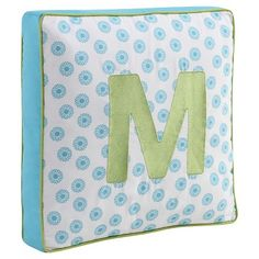 Letter Pillow - Turquoise/Lime Green - M