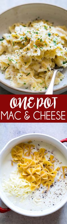 One Pot Mac & Cheese with bowtie pasta! An easy creamy pasta that only has a few simple ingredients and it only takes one pot to make!