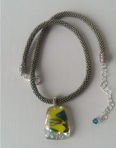 Lime and Teal Millefiori Pendant Kumihimo Necklace by FusionBloom