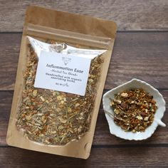 Inflammation Herbal Tea is a potent and nourishing blend formulated with anti-inflammatory plants and roots to support inflammation in the body. This blend is 3 ounces and contains about 30 servings of tea. Packaged in a kraft zip pouch that is reusable and recyclable. Ingredients: Turmeric Root*, Meadowsweet Leaf*, Ginger Root*, Lemongrass*, Lemon Peels*, Cinnamon Chips*, Licorice Root*, Peppermint Leaf*. *certified organic How To Brew Steep 1-2 tsp of tea per 8 ounces of hot water for 8-10… Anti Inflammatory Herbs, Green Tea Bags, Cinnamon Chips, Bath Tea, Peppermint Leaves, Turmeric Root, Tea Packaging, Brewing Tea, Tea Blends
