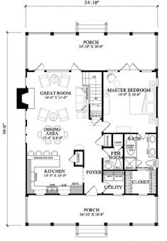 This house is simple but cute. First Floor Plan of Cottage House Plan 57063
