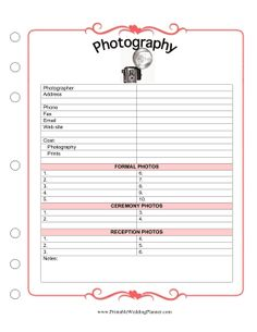 The Wedding Planner Photography checklist makes it easy to remember all the special photos you want for your special day. Free to download and print