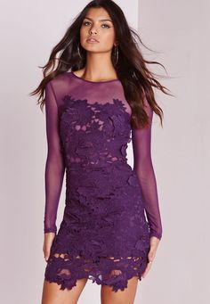 Missguided - Floral Lace Mesh Bodycon Dress Purple
