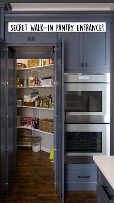 Kitchen Pantry Design, Modern Kitchen Design, Home Decor Kitchen, Interior Design Kitchen, Kitchen Storage, Home Kitchens, Kitchen Microwave Cabinet, Small Kitchen Pantry, Kitchen Pantry Cabinets