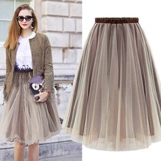 WOMEN'S TRENDY BROWN SOLID LACE SKIRT