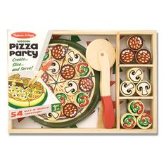 "wooden Pizza Party set from Melissa and Doug because they can ""cut"" six slices, add from 50 topping pieces and serve their friends with the spatula"