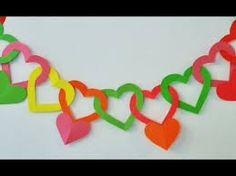 Resultado de imagen para como hacer una guirnalda de corazones de papel picado