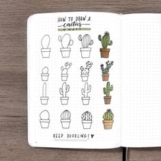 4 ways to draw a cactus! hope this helps y'all out  #keepdoodling! ✨